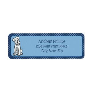 White Boxer with Light Blue Paw Prints Return Address Label
