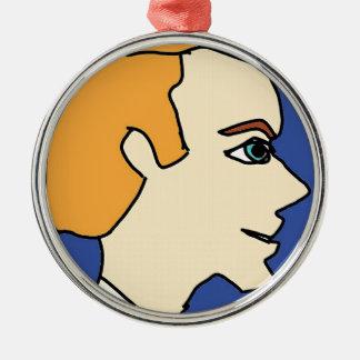 white boy1 metal ornament