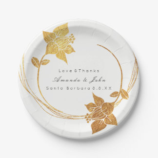 White Bridal Holidays Wedding Gold Floral Wreath Paper Plate