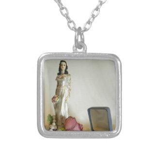 White Bridal IV Square Pendant Necklace