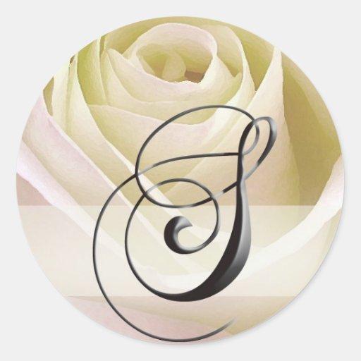 White Bridal Rose Monogram Sticker Initial S