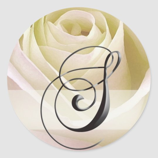 White Bridal Rose Monogram Sticker Initial S