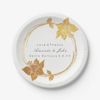 White Bridal Wedding Gold Floral Wreath Thank You Paper Plate