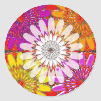 WHITE bright SUN Chakra Sunflower Yoga Mandala FUN Classic Round Sticker