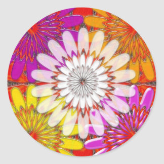 WHITE bright SUN Chakra Sunflower Yoga Mandala FUN Round Sticker