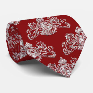 White British Coat of Arms Red Tie