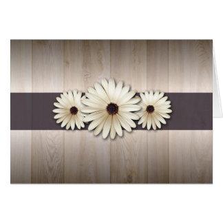 White brown daisy RSVP wedding cards