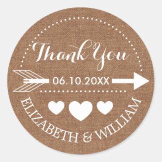 White Brown Faux Burlap Wedding Thanks Arrow Heart Round Sticker