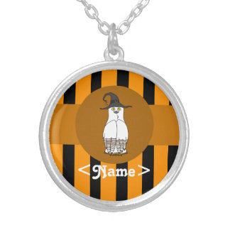 White & Brown Owl with Witch Hat & Orange Stripes Round Pendant Necklace
