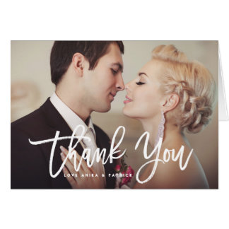 White Brush Calligraphy Script Thank You Photo Card