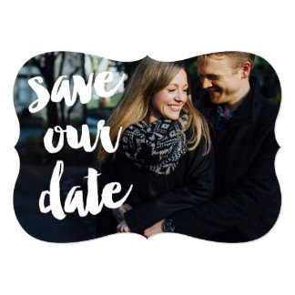 White Brush Sketchy Photo Save the Date Flat Card