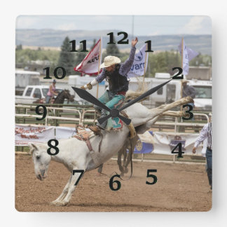 White Bucking horse Square Wall Clock