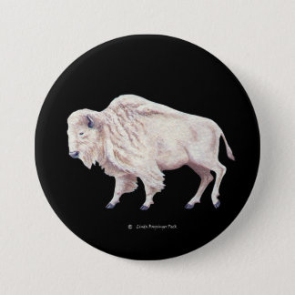 White Buffalo 7.5 Cm Round Badge