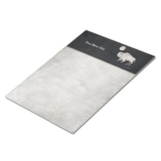 White Buffalo Full Moon Light Gray Notepads