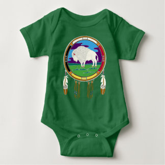 White Buffalo Native American Baby Bodysuit