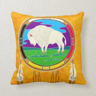 White Buffalo Native American Square Pillow