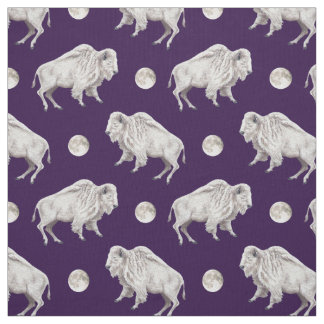 White Buffalo White Full Moon Fabric