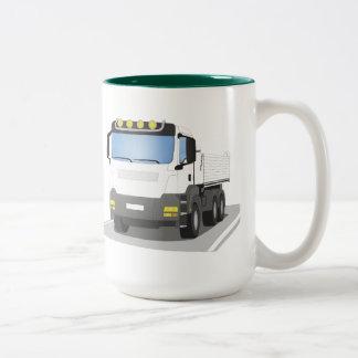 white building sites truck Two-Tone coffee mug