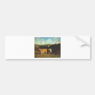 White Bull and Blond Heifer by Gustave Courbet Bumper Sticker