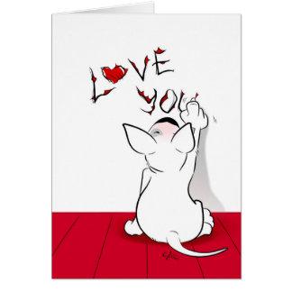 """White Bull Terrier Cartoon Card """"Love you"""""""