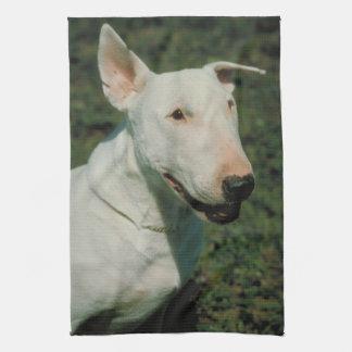 White Bull Terrier Dog Kitchen Towel