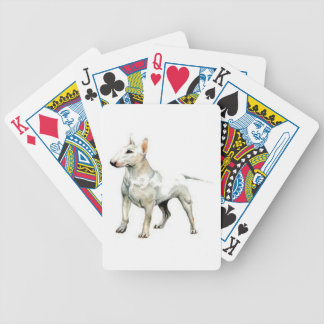 White Bull Terrier Dog Playing Cards
