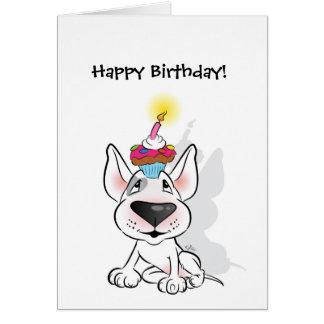 White Bull Terrier Happy Birthday Greeting Card