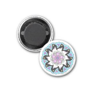 White Bull Terrier Pink/Blue Symmetrical Design 3 Cm Round Magnet