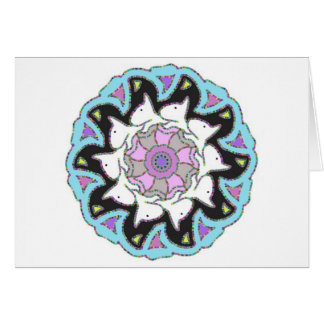 White Bull Terrier Pink/Blue Symmetrical Design Card
