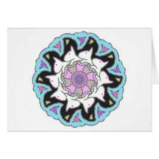 White Bull Terrier Pink/Blue Symmetrical Design Greeting Card