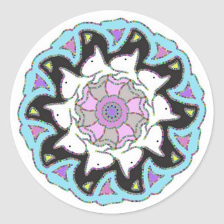 White Bull Terrier Pink/Blue Symmetrical Design Round Sticker