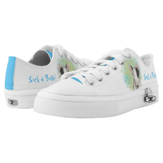 White Bull Terrier with Blue Butterfly sneakers