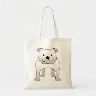 White Bulldog. Cute Dog Cartoon. Tote Bags