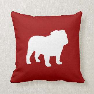 White Bulldog Silhouette on Red (Customizable) Throw Cushions