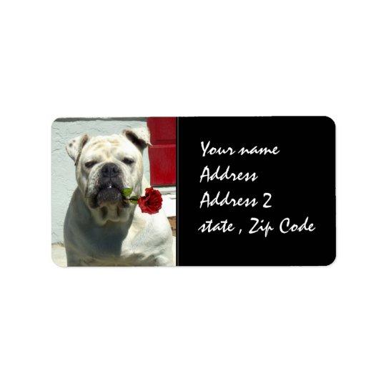 White Bulldog with rose Label