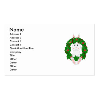 White Bunny And Christmas Wreath Business Card Template