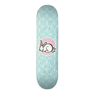 White Bunny Baby Blue Circles Custom Skateboard