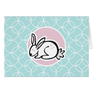 White Bunny; Baby Blue Circles Greeting Card