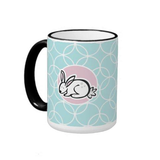 White Bunny; Baby Blue Circles Coffee Mug