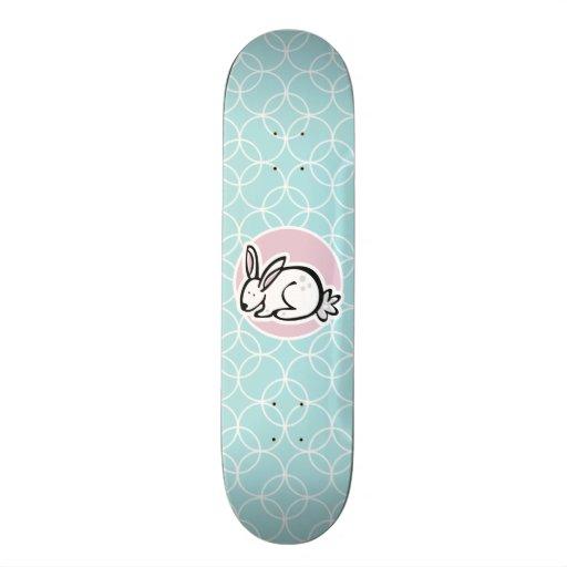 White Bunny; Baby Blue Circles Custom Skateboard