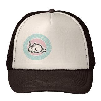 White Bunny Blue Circles Cap
