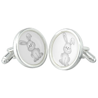 White bunny clipart cufflinks
