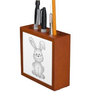 White bunny clipart desk organiser
