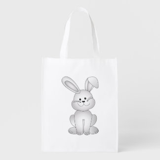 White bunny clipart reusable grocery bag