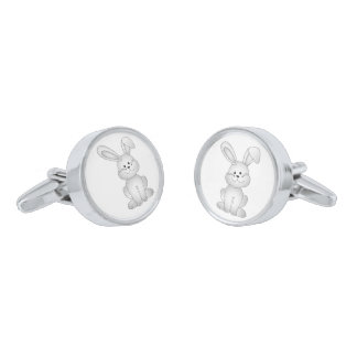 White bunny clipart silver finish cuff links