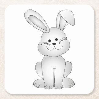 White bunny clipart square paper coaster