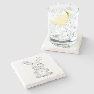 White bunny clipart stone coaster