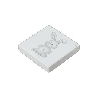 White bunny clipart stone magnet