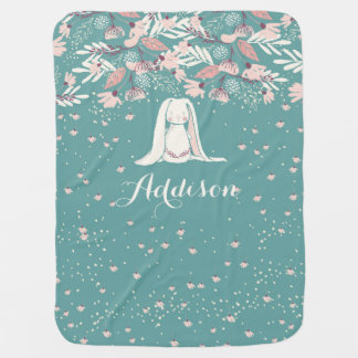 White Bunny & Flowers | Custom Name Pram blanket