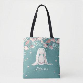 White Bunny & Flowers   Custom Name Tote Bag